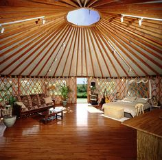 Pacific Yurts, one of the largest manufacturers of yurt homes, operates out of Oregon and sells kits of various sizes. Description from luxuryhousingtrends.com. I searched for this on bing.com/images