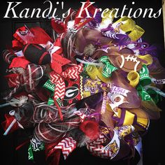 UGA/LSU House divided wreath by Kandi's Kreations.
