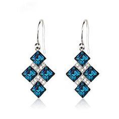 Eikoh Colour Blue Diamond Elegant Austria Crystal Earrings