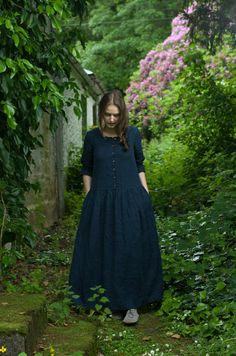 NAVY BLUE LINEN Long Dress by KnockKnockLinen on Etsy
