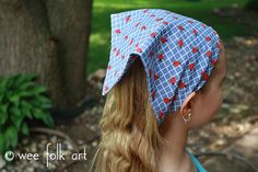 Stretchy Bandana Headband - Wee Folk Art Stretchy Headbands, Fabric Headbands, Clothing Patterns, Sewing Patterns, Sewing Ideas, Sewing Projects, Head Scarf Tutorial, Bandana Crafts, Head Bandana