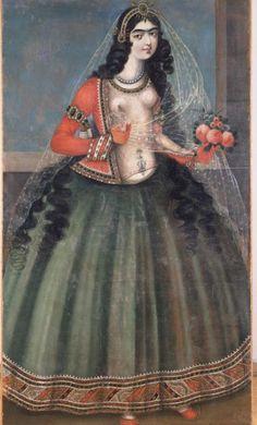 The Art History Journal: Qajar Dynasty ( Qajar Art ) - Woman Holding A Rose