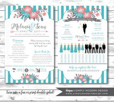 silhouette wedding program, program fan, rustic wedding program, wedding party silhouettes, ceremony program, stripes, floral, PRINTABLE by SimplyModernDesignx on Etsy