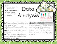 Analyzing the Data : 16 challenging task cardsAnalyzing data is tricky, but these 16 task cards can help! Use them orally in small groups, or individually as a practice station in Math Daily 3 or in Guided Math. Another option is to use one card at a time with the entire class.