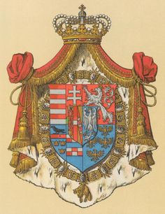 Arms of an Archduke of Austria-Este and a Knight of the Golden Fleece Hugo Gerard Ströhl. Austrian Empire, Archduke, Holy Roman Empire, Jackdaw, Royal Crowns, Austro Hungarian, Roman Emperor, Family Crest, European History