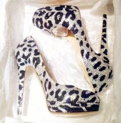 Leopard high heels that SPARKLE!