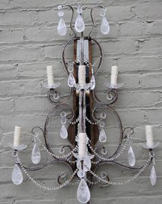 Pair of Mirrored Rock Crystal Sconces | From a unique collection of antique and modern wall lights and sconces at https://www.1stdibs.com/furniture/lighting/sconces-wall-lights/