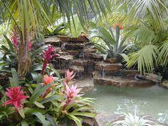 Waterfall into a swimming pool