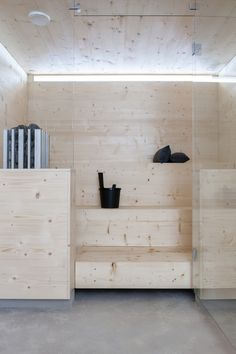 This outstanding sauna is from Deko's own housing fair home called Maja. Designed by the residents themselves, every detail is considered carefully. The key words are minimal surfaces and strong materials. The architecture is inspired by Kyly-sauna from the Finnish Avanto-architects. / photos Pauliina Salonen