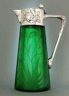 Silber & Glas, Theodor Julius Gunther - Berlin um 1900 - Wine Decanters Silver, Pewter with Glass - Go Green, Green Colors, Kelly Green, Bright Green, Carafe, Decanter, Antique Glass, Shades Of Green, Colored Glass