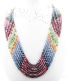 Ruby, Emerald, Sapphire Beaded Necklace Jewelry India - Delhi NCR, View Multi Gemstone Necklace, Bello Jewels Product Details from BELLO JEW...