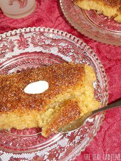 The Teal Tadjine   Mediteranean-Inspired Family Traditions + Halal Real Food Recipes : Qalb bel louz   Algerian Semolina Spoon Dessert with Almond Center