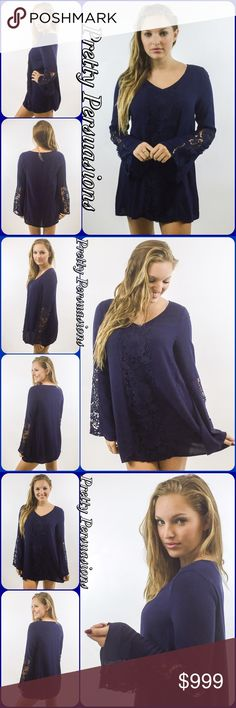 "NWT Navy Floral Lace Crochet Bell Sleeve Tunic Top NWT Navy Floral Lace Crochet Accent Bell Sleeve Tunic Top  Available in S, M (L sold out) Measurements taken from a small  Length: 36"" Bust: 40"" Waist: 42""  Rayon  Features  • lace crochet accented front (non sheer) • lace crochet accented bell sleeves • longer length tunic/mini dress • super soft, breathable material   Bundle discounts available No pp or trades  Item # 1/209240390NBST navy blue boho lace crochet bell sleeve tunic dress…"
