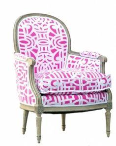 Vintage Bergere chair upholstered in HB Luxe Pink Ping fabric.
