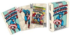"Marvel Comics Captain America Playing Card Game:   52250 Features: -Officially poker sized. -100% Officially licensed. -Includes 52 different images. -Linen type finish. Product Type: -Traditional Playing Cards. Gender: -Boy. Generic Dimensions: -3.56"" H x 2.56"" W x 0.75"" D. -Weight: 0.22 lb. Dimensions: Overall Height - Top to Bottom: -3.56 Inches. Overall Width - Side to Side: -2.56 Inches. Overall Depth - Front to Back: -0.75 Inches. Overall Product Weight: -0.22 Pounds."