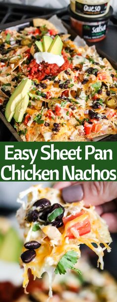 Easy Sheet Pan Nachos are the perfect solution for tailgating game day or a quick meal. Layer crunchy tortilla chips with shredded chicken fresh vegetables cheese and then top with delicious queso and Fresh Cravings Salsa salsa! Soup Appetizers, Appetizer Recipes, Dinner Recipes, Mexican Appetizers, Drink Recipes, Shredded Chicken Nachos, Super Bowl Essen, Game Day Food, Fresh Vegetables