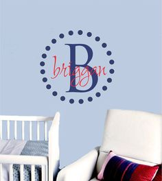 Polka Dot Monogram Baby Boy Name Wall Decal Vinyl by AllOnTheWall, $23.00