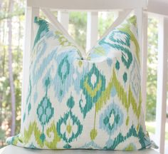 Decorative Pillow Ikat Baby Blue Turquoise Teal Chartreuse Green Ivory Designer Pillow Cover 18 x 18 - Throw Pillow via Etsy