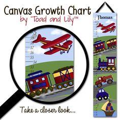 Canvas GROWTH CHART Planes, Trains and Automobiles Boys Bedroom Kids Baby Nursery Wall Art. $40.00, via Etsy.