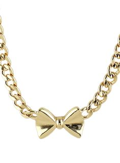 Gold Bow Chain Necklace - Sheinside.com