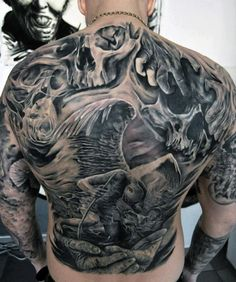 Impressive Black And Grey Tattoo Mens Full Back