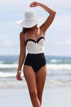 53e72f66fd4e1 Cupshe Classic Tone Contrast One-Piece Swimsuits Belle Lingerie, Black And  White Swimsuit,