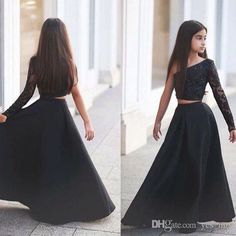2016 Cheap Girls Pageant Dresses For Teens Black Lace Appliques One Shoulder Long Sleeves Two Pieces Size 13 Party Children Flower Girl Gown Online with $75.4/Piece on Yes_mrs's Store | DHgate.com