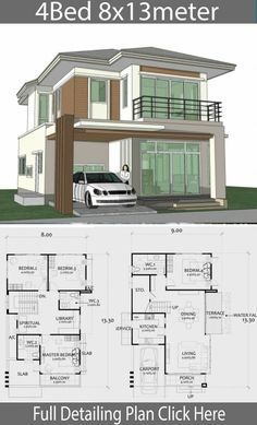 Home Design Plan with 4 Bedrooms. - Home Ideas - Home Design Plan with 4 Bedrooms. – Home Design with Plansearch - {hashtag} Model House Plan, House Layout Plans, Duplex House Plans, Family House Plans, Dream House Plans, House Layouts, House Floor Plans, Bedroom House Plans, 2 Storey House Design