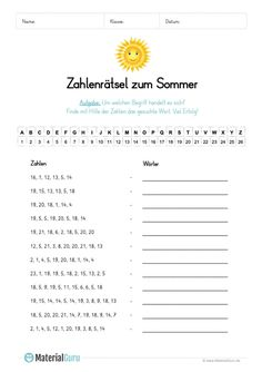 A free worksheet for summer on which the children solve a number puzzle Math School, Pre School, Languages Online, Number Puzzles, German Language Learning, Occupational Therapist, Elementary Schools, Kids Learning, Worksheets