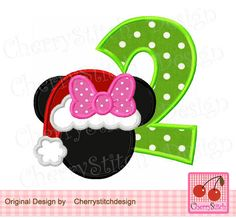 Christmas Number 2 with Mouse ears,Christmas Minnie Mouse ,Minnie Applique Design -for 4x4 5x7 6x10 hoop-Machine Embroidery Applique Design by CherryStitchDesign on Etsy