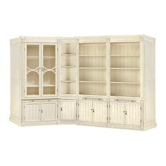 The Athens Media Unit with cabinet In French white. Shop Arhaus.