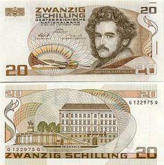 Austria 20 Schilling 1986 Moritz M. Albertina Museum in Vienna. 11 September 2001, Money Worksheets, Money Notes, World Coins, Postage Stamps, Austria, Miniature Paintings, Bank Account, Vienna