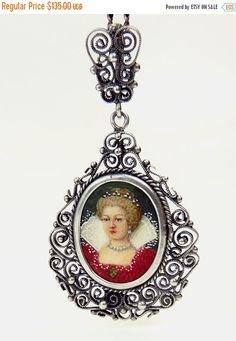 Antique 800 Silver Portrait Miniature Pendant Necklace by jujubee1