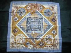 "Hermes scarf CARRE ""LES JARDIN DES COPTES ""gray blue #HERMS #Scarf"