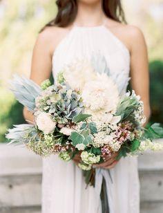 Textural blue, white + green bouquet