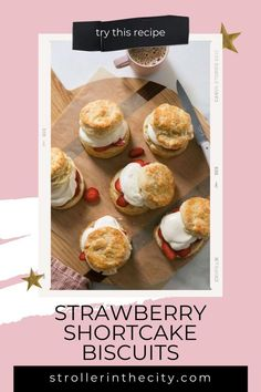 Visit here to learn how to make these delicious Strawberry Shortcake Biscuits for your next summer bbq on Stroller in the City! If you are looking for a summer dessert recipe, then this is the blog post for you. Get inspired to make this easy strawberry shortcake biscuits recipe today to treat your kids. You will not regret making these because they are the absolute best strawberry shortcake biscuits you'll ever eat. Be sure to try this strawberry shortcake recipe. #dessert #strawberry #cake Summer Dessert Recipes, Party Desserts, Mini Desserts, Dinner Recipes, Dessert Ideas, Shortcake Biscuits, Yummy Treats, Yummy Food, Strawberry Shortcake Recipes