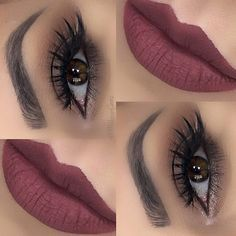 soft neutral brown smokey eye, shimmery lower lashline, black winged eyeliner | makeup @makeupgemz with dusty mauve burgundy lips (Colour Pop Tulle), perfect for Christmas!