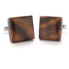 Walnut Wood Cufflinks Cuff Links Suit Classy Brown