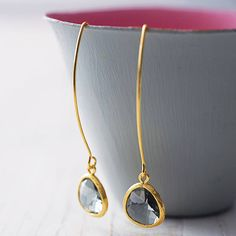 faceted glass raindrop earrings by simply suzy q | notonthehighstreet.com