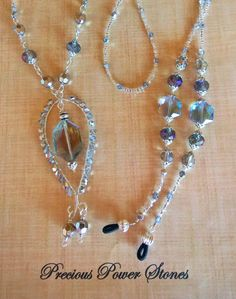 b84bf3382388 Elegant Eyeglass Chain (Lanyard) w  Matching Necklace. ~ Stunning Crystal  Glass Beads Make the Focal Point! by PreciousPowerStones on Etsy