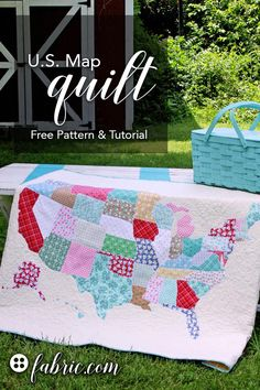 Create a U.S. Map quilt with this free pattern and tutorial from Flamingo Toes featuring Riley Blake Calico Days fabric and Kona Cotton prints. Get the full DIY on the fabric.com blog!