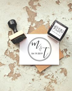 Initial Stamp Wedding Favor Stamp  Rustic Wedding by ThePrintMint