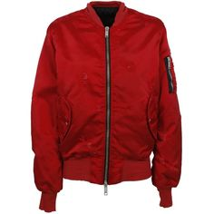 Unravel Project Satin Bomber ($805) ❤ liked on Polyvore featuring outerwear, jackets, rosso, zip front jacket, red jacket, satin bomber jacket, bomber jacket and bomber style jacket