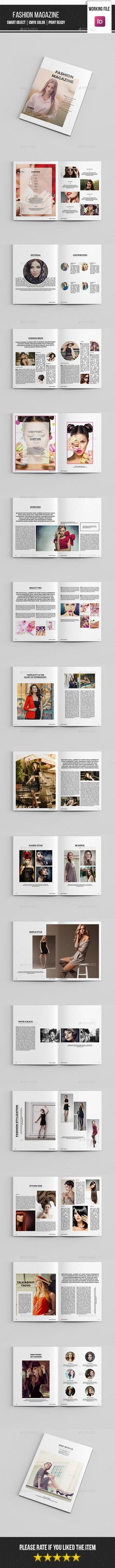 Fashion Magazine Template InDesign INDD. Download here: http://graphicriver.net/item/fashion-magazine-templatev16/15860108?ref=ksioks