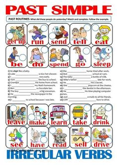 PAST SIMPLE - irregular verbs (past routines) - English ESL Worksheets for distance learning and physical classrooms Verb Worksheets, English Grammar Worksheets, English Verbs, Grammar And Vocabulary, Grammar Lessons, English Vocabulary, Printable Worksheets, English Tips, English Lessons