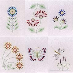 Value Pack No. 18: Bead Flowers at Stitching Cards - ePatterns for paper embroidery