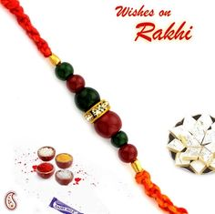 Picture of Red and Green Beads American diamond Rakhi