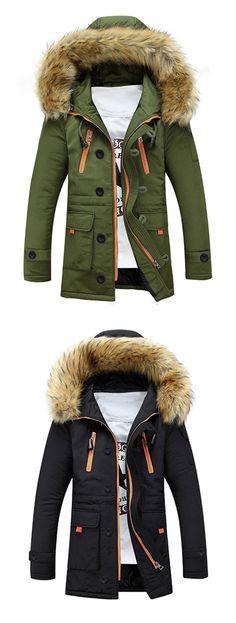 Faux Fur Hooded Zip Up Multi-Pocket Padded Coat