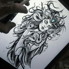 Drawing tattoo sketches feathers 56 new Ideas Medusa Drawing, Medusa Art, Medusa Tattoo, I Tattoo, Line Tattoos, Body Art Tattoos, Sleeve Tattoos, Tattoo Sketches, Tattoo Drawings
