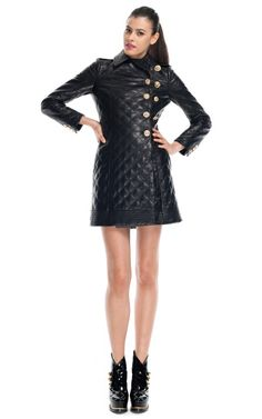 Moschino Asymmetrical Admiral Quilted Leather Coat $5995